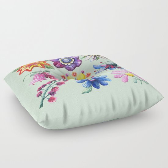 Pretty Flowers All in a Row Green Floor Pillow
