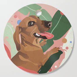 Dachshund puppy with palm leaves in bold colors Cutting Board