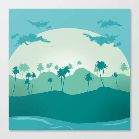 Lonely palms on tropic beach Canvas Print