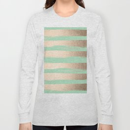 Painted Stripes Gold Tropical Ocean Green Long Sleeve T-shirt