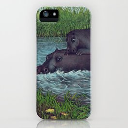 Vintage Illustration of Hippopotamuses (1874) iPhone Case