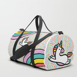 Magical Disco Unicorn Dancing on Sparkling Rainbows Duffle Bag