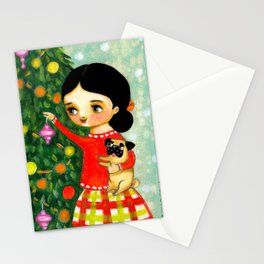 Pug Christmas Tree sweet painting by Tascha Stationery Cards