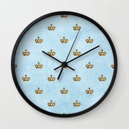 Gold crowns on lightblue watercolor backround- pattern Wall Clock