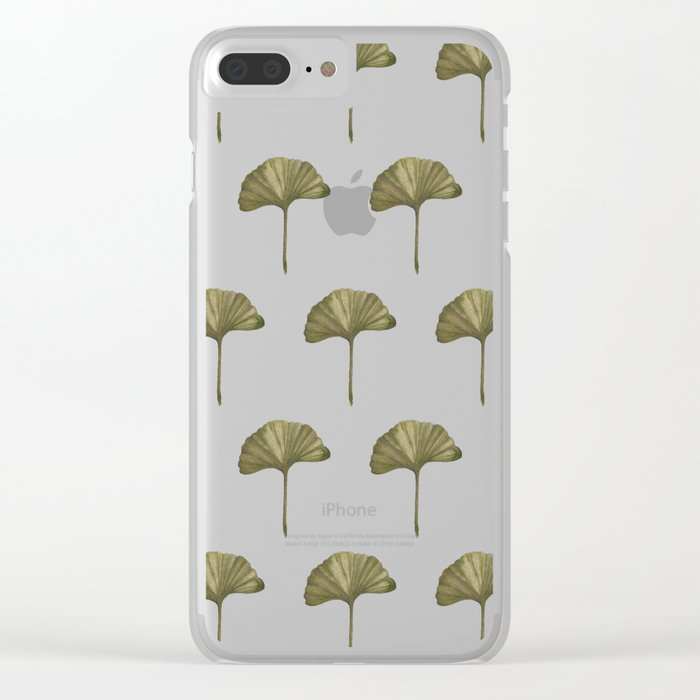 Green Ginko Leaf - Simple Minimalist Nature Clear iPhone Case