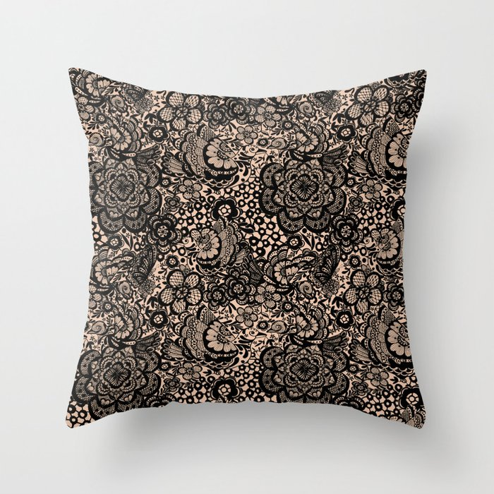 Bronze nude with black lace Throw Pillow
