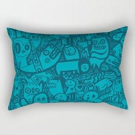 Blue Doodle Rectangular Pillow