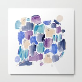 Marking making abstract pattern - deep blue purple peach and teal Metal Print