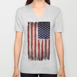 Wood American flag Unisex V-Neck