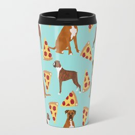 Boxer dog pattern pizza dog lover pet portraits boxers dog breed by pet friendly Travel Mug
