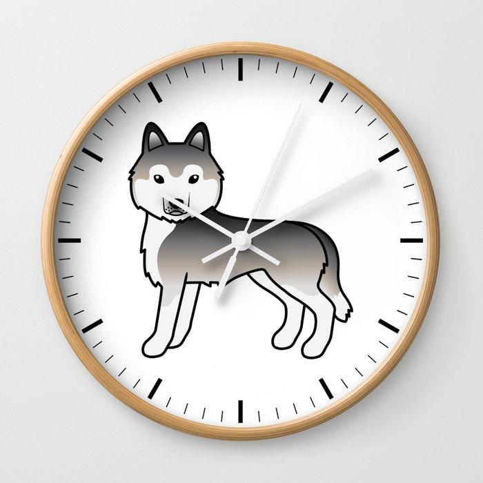 Grey Siberian Husky Dog Cute Cartoon Illustration Wall Clock By Destei Society6