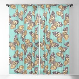 Painted lady butterfly pattern 2 Sheer Curtain