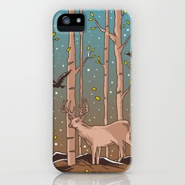 Birch Trees with Birds And Deer iPhone Case