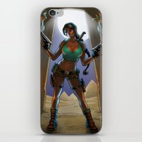 tomb raider iPhone & iPod Skins featuring Tomb Raided by Zach Fischer Illustrations