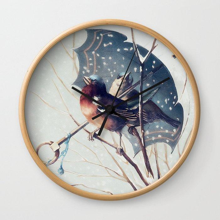 Snow Day - Robin Wall Clock