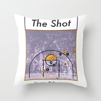 lakers Throw Pillows featuring The Shot Series, Derek Fisher by Dyllin Shane