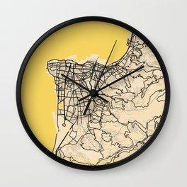 Beirut Yellow City Map Wall Clock