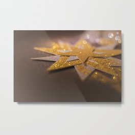 Gold and silver sparkly star design Metal Print