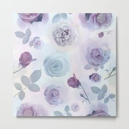 seamless   pattern with roses . Endless texture Metal Print