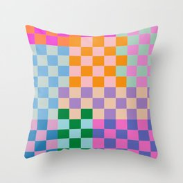 Checkerboard Collage Throw Pillow