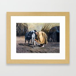 A painting of a maasai woman Milking Framed Art Print