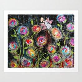 Midnight in the Fairy Garden Art Print