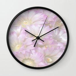 Soft Cactus Blossoms, Desert Floral Art by Murray Bolesta Wall Clock