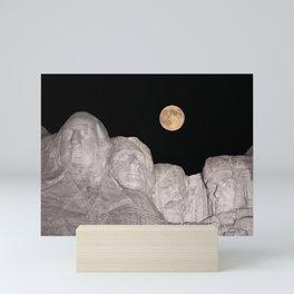 Blue moon over Mount Rushmore National Memorial. Mini Art Print
