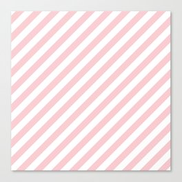 Light Millennial Pink Pastel and White Candy Cane Stripes Canvas Print