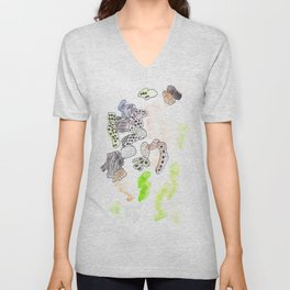 170323 Magical Unfolding 13|Modern Watercolor Art | Abstract Watercolors Unisex V-Neck