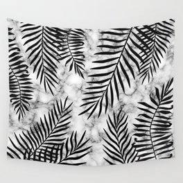 Black palm leaves on marble Wall Tapestry