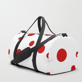 Red Dots on White Duffle Bag