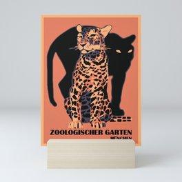 Retro vintage Munich Zoo big cats Mini Art Print
