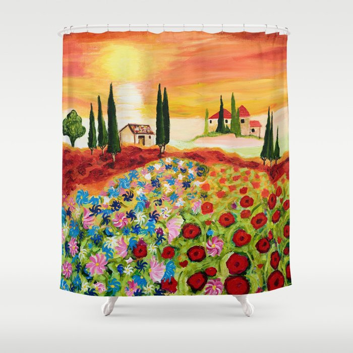 Tuscan Field of Poppies Shower Curtain by artvondanielle | Society6
