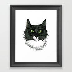 Curly Sue the Tuxedo Cat Framed Art Print
