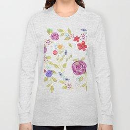 Drawn Natura Botanical Floral Pattern Long Sleeve T-shirt