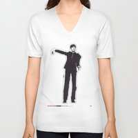 les mis V-neck T-shirts featuring Mis-Shapes by Popp Art