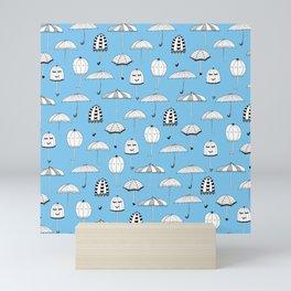 Happy Umbrellas Pattern - blue Mini Art Print