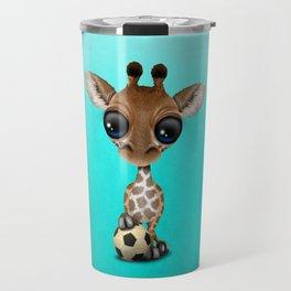 Cute Baby Giraffe With Football Soccer Ball Travel Mug