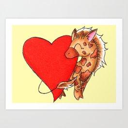Heart Giraffe Art Print