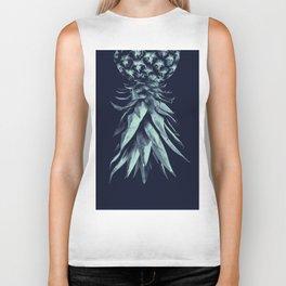Navy Blue Pineapple Upside Down #1 #tropical #fruit #decor #art #society6 Biker Tank