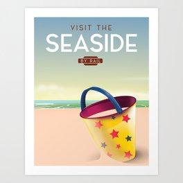 Visit the Seaside travel poster Art Print