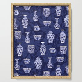 Blue & White Chinoiserie/ Delftware Pottery Pattern Serving Tray