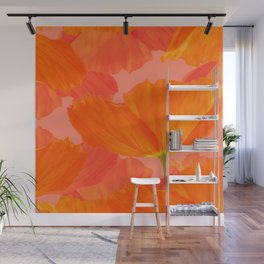 Beautiful Poppies Coral Color Background #decor #society6 #buyart Wall Mural