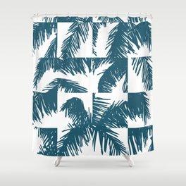 Palm Leaf Pattern Blue Shower Curtain
