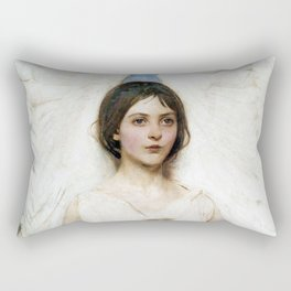 Beautiful Angel With White Wings Rectangular Pillow