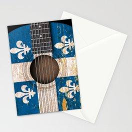 Old Vintage Acoustic Guitar with Quebec Flag Stationery Cards