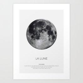 La Lune Print, Moon Poster, La Luna Wall Art, Full Moon Print Art Print