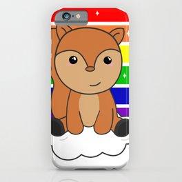 Squirrel Rainbow Glitter Kawaii Croissant iPhone Case