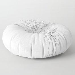 Small Wildflowers Minimalist Line Art Floor Pillow